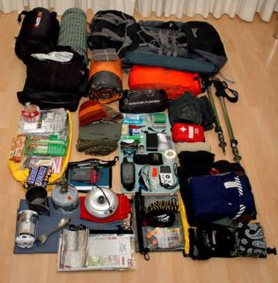 Picture of essential hiking items